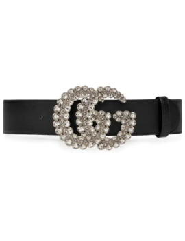 Gg Crystal Leather Belt by Gucci