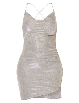 Shape Silver Glitter Strappy Back Ruched Bodycon Dress by Prettylittlething