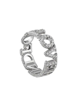 18kt White Gold Blind For Love Diamond Band by Gucci