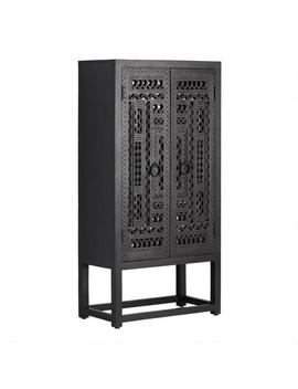 Carved Wood And Mirror Almirah Storage Cabinet by World Market