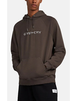 Distressed Logo Embroidered Cotton Hoodie by Givenchy
