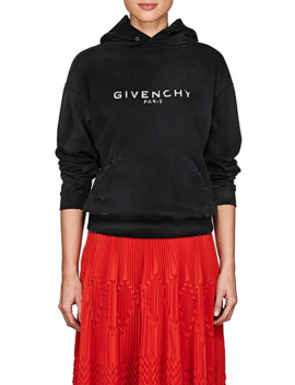 Logo Distressed Cotton Terry Hoodie by Givenchy