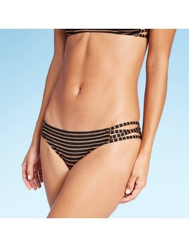 Women's Strappy Hipster Bikini Bottom   Xhilaration™ Black Metallic Stripe by Xhilaration