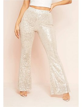 Hazel Silver Sequin Flare Trousers by Missy Empire