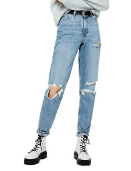 Mid Blue Ripped Mom Jeans 30 Inch Leg by Topshop