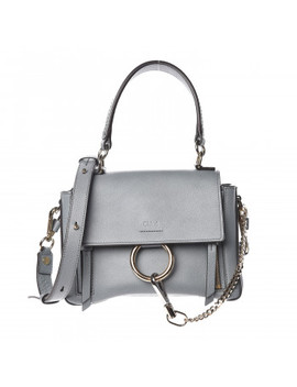 Chloe Calfskin Mini Faye Day Shoulder Bag Cloudy Blue by Chloe