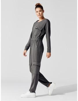 Fleece Asymmetrical Zip Jumpsuit by Carbon38