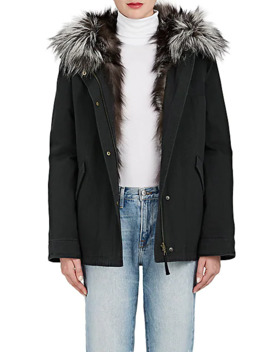 Cotton Hooded Parka & Fur Liner Coat by Army By Yves Salomon
