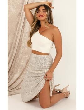 Sparkle For Days Skirt In Cream Glitter by Showpo Fashion