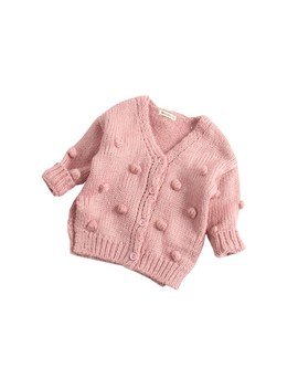 Toddler Baby Girl Knitted Sweater Kids Cute Long Sleeve Single Breasted V Neck Cardigan Tops Outfits Clothes by Gaono