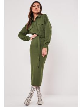 Khaki Rib Belted Midi Shirt Dress by Missguided