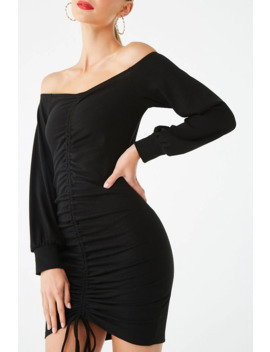 Off The Shoulder Ruched Bodycon Dress by Forever 21