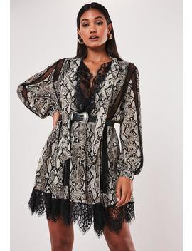 Gray Snake Print Chiffon Lace Trim Mini Dress by Missguided