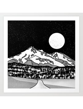 Mount Shasta Black And White Art Print by Society6