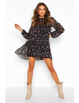 Ditsy Floral Oversized Tiered Smock Dress by Boohoo