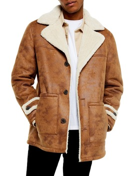 Aviator Classic Fit Faux Shearling Lined Coat by Topman