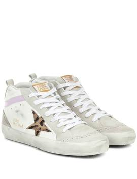 Mid Star Leather And Suede Sneakers by Golden Goose