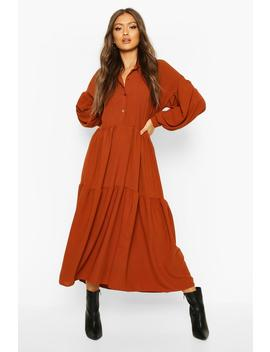 Oversized Tiered Maxi Shirt Dress by Boohoo