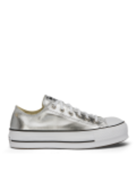 Chuck Taylor All Star Metallic Canvas Lift Low Top Silver by Converse