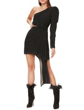 Shabi Polka Dot One Shoulder Minidress by Afrm