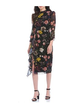 Chiffon Mock Neck Floral Print Front Ruffle Slit Midi Dress by Eliza J