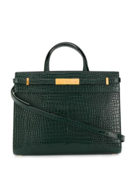 Small Manhattan Crocodile Embossed Tote by Saint Laurent