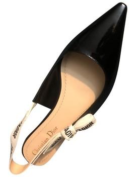 Black J'adior Slingback Patent Flats Pumps by Dior