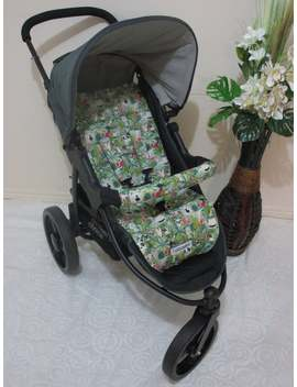 Stroller/Pram Liner Set,100% Cotton Fabric.Universal Jungle Fun Animals. by Etsy
