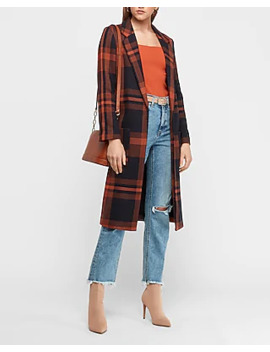 Long Plaid Car Coat by Express