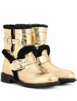 Youth Fur Lined Leather Ankle Boots by Jimmy Choo