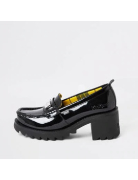 Kickers Black Leather Patent Heeled Loafers by River Island