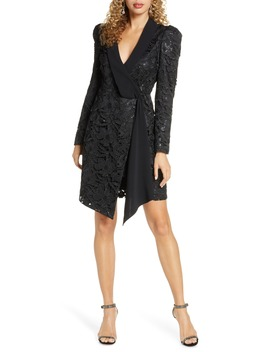 Sequin Lace Long Sleeve Tuxedo Cocktail Dress by Harlyn