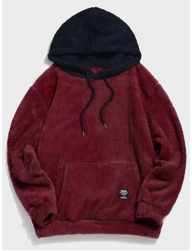 Colorblock Splicing Drawstring Fluffy Hoodie   Red Wine S by Zaful