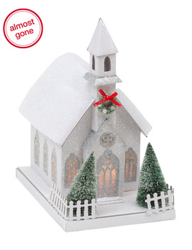 11in Paper Glittered Led Church by Tj Maxx