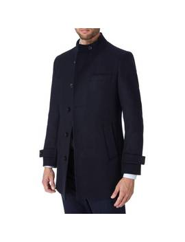 Navy Nehru Wool Blend Car Coat by Gianni Feraud