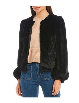Faux Fur Puff Shoulder Hook Front Jacket by Chelsea & Violet