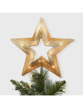 Lit Coil Wrapped Star Christmas Tree Topper Gold   Wondershop™ by Wondershop