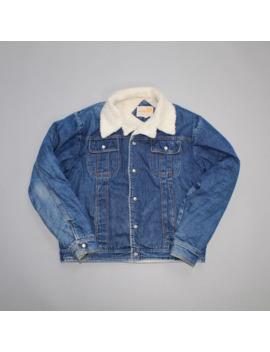 90s Faded Dark Wash Sherpa Lined Denim Jacket by Vintage  ×