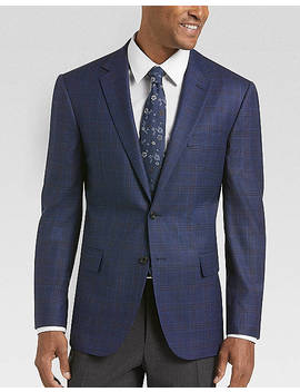 Egara Navy Plaid Slim Fit Sport Coat by Egara