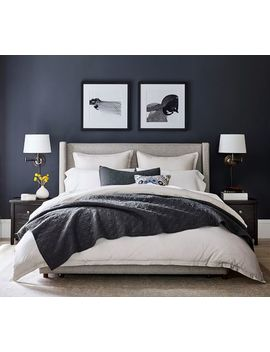 Elliot Shelter Upholstered Headboard With Footboard Storage Platform Bed, Queen, Brushed Crossweave Natural by Pottery Barn