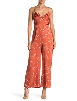 Sleeveless Printed Wide Leg Jumpsuit by Lush