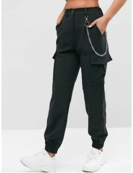 Flap Pockets Chain Jogger Pants   Black S by Zaful