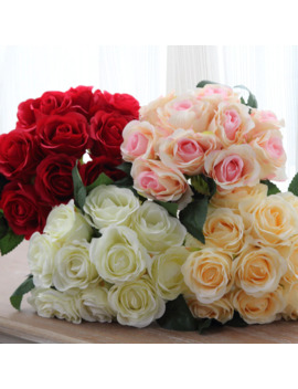 1 Bouquet 10pcs Artificial Red Rose Heads Flower Wedding Bridal Silk Bouquet Birthday Party Valentine's Day Home Decoration by Ali Express.Com