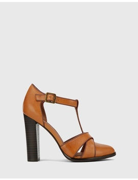 Wilde T Bar Almond Toe Block Heel Mary Janes by Wittner