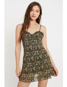 Uo Aurelie Yellow Ditsy Floral Mesh Mini Dress by Urban Outfitters