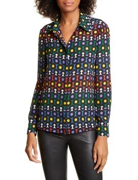 Willa Large Collar Print Silk Shirt by Alice + Olivia
