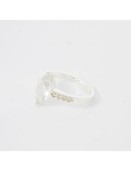 Silver Colour Navette Diamante Ring by River Island