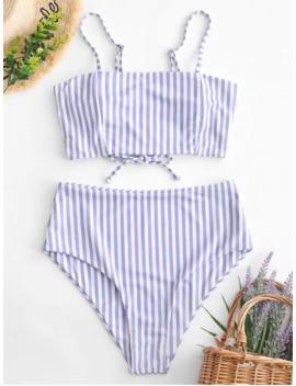 Zaful Striped Lace Up High Waisted Tankini Swimwear   Multi A S by Zaful