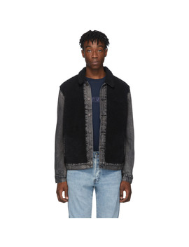 Black Sherpa Panel Trucker Jacket by Levi's