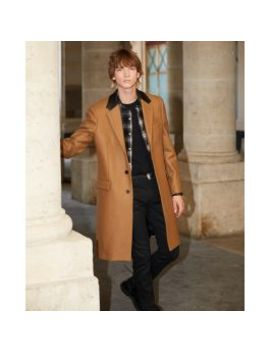 Leather Collar Camel Belted Long Wool Coat by The Kooples